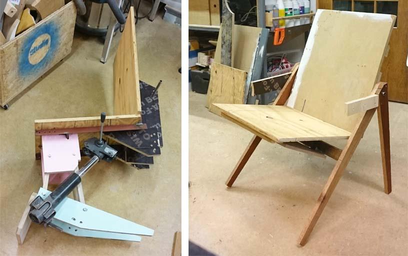 Quelques-uns des prototypes de l'Hybrid Chair.