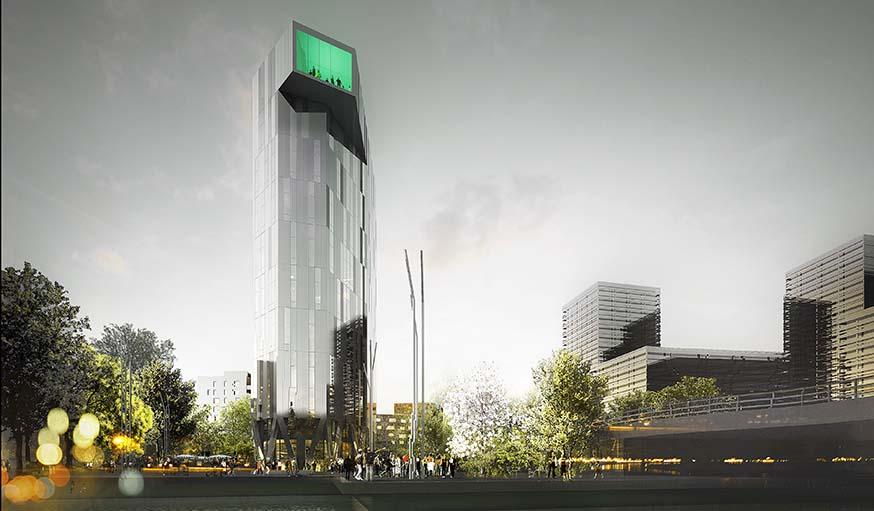 La tour est construite selon les principes de l'architecture bioclimatique.