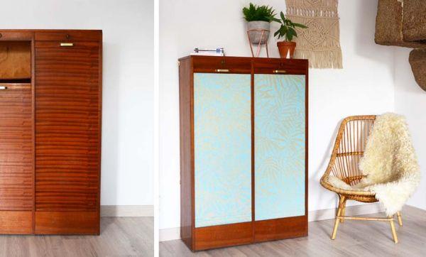 Tuto : Customisez un meuble vintage avec un restant de beau papier peint