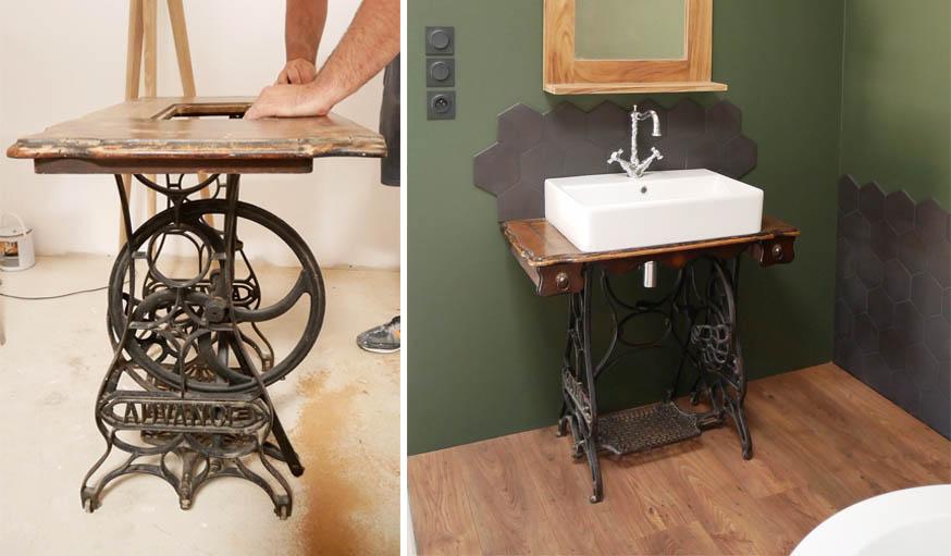 Cette machine à coudre a retrouvé une nouvelle vie comme meuble de salle de bains.