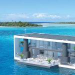 Cette maison flottante peut déployer 4 pieds hydrauliques.