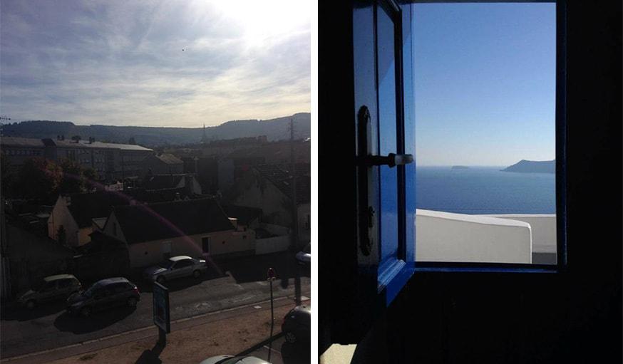 En Bourgogne-Franche-Comté, le 25 octobre (à gauche) et vu sur la mer à Santorin en mer Égée (à droite)