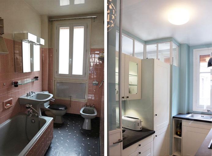 L'ancienne salle de bains à gauche, la nouvelle cuisine à droite.