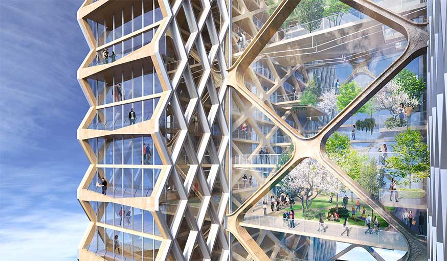 En façade, les fenêtres des appartements privés font penser aux alvéoles d'une ruche.