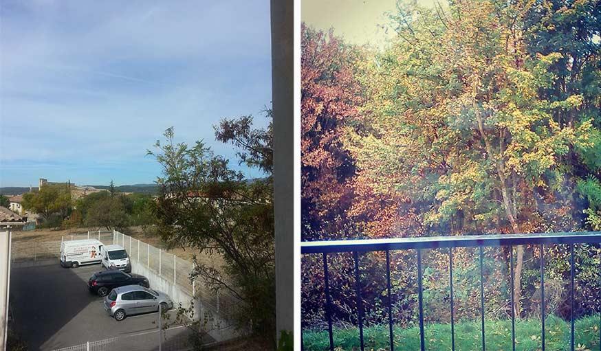 Vu sur le ciel bleu dans le Vaucluse, le 26 octobre (à gauche) et vu sur la nature à Auxerre à l'Yonne, le 25 octobre
