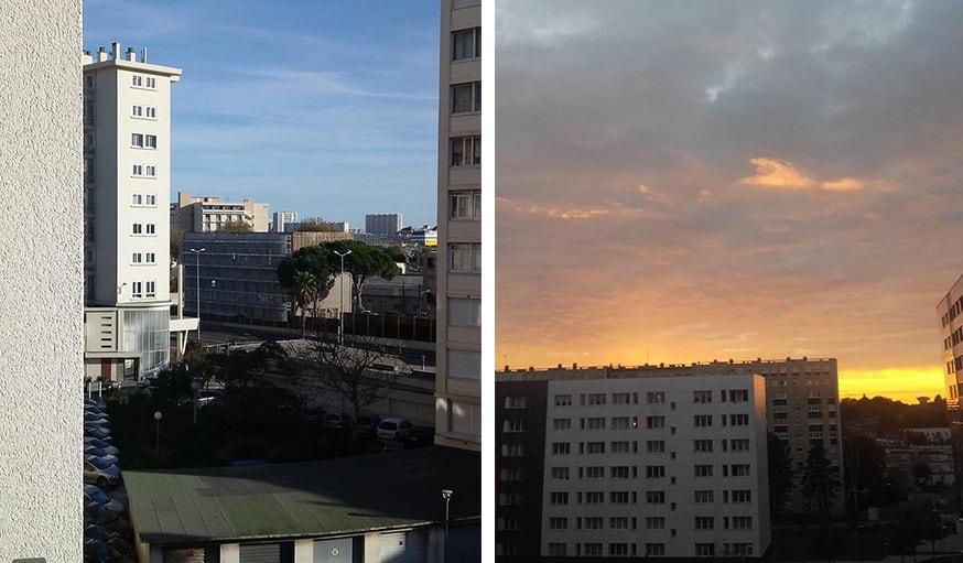 À Toulon, le 25 octobre (à gauche) et vu sur le coucher de soleil à Mons-en-baroeul en Hauts-de-France, le 23 octobre (à droite)