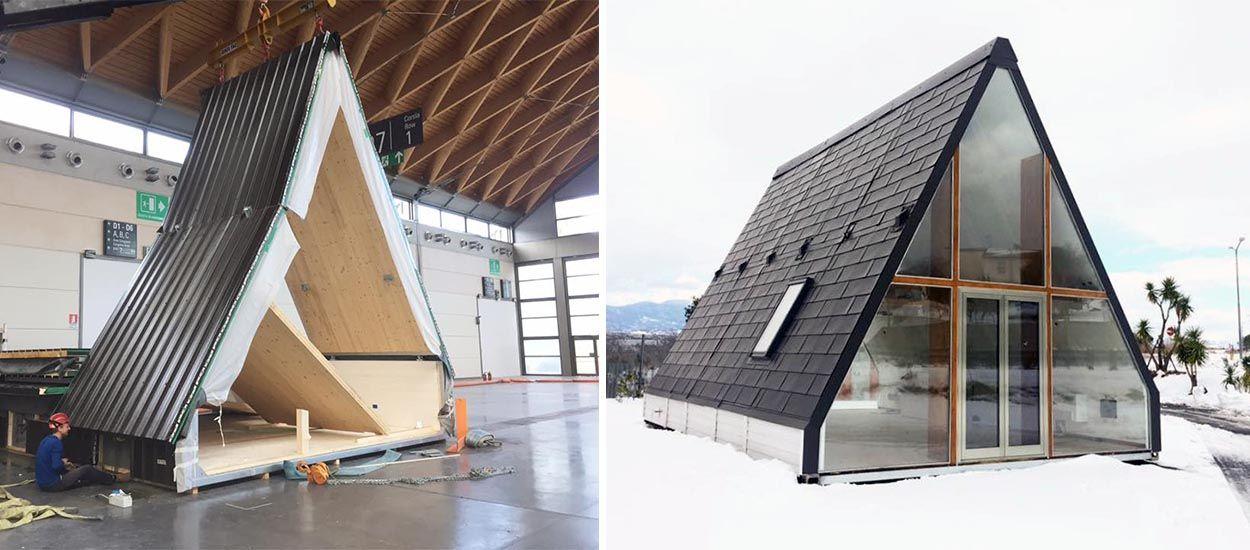 madi la maison pliable en forme de triangle qui se construit en 7 heures. Black Bedroom Furniture Sets. Home Design Ideas