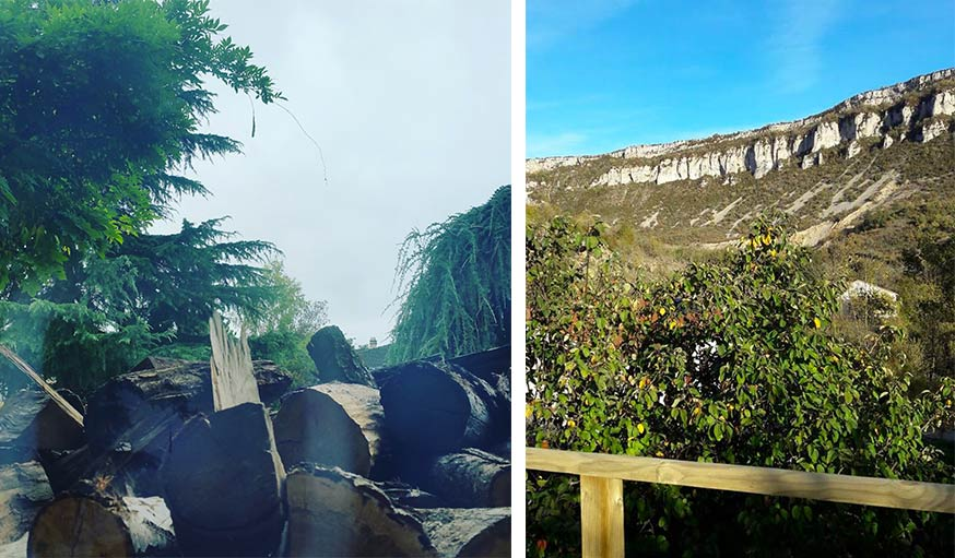 Vu de la fenêtre du salon a? Marly en Moselle, le 24 octobre (à gauche) et vu sur la nature à Aveyron (à droite)