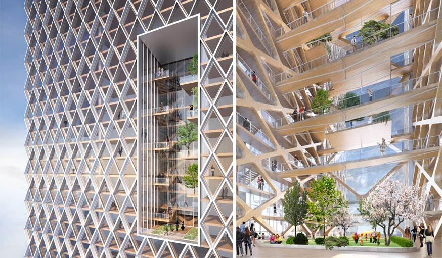 Ces appartements sont organisés autour d'un parc vertical, avec de vrais arbres.