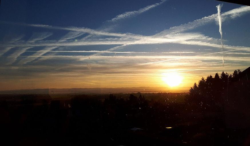 Vu sur le lever de soleil à Saint-André-d'Apchon dans la Loire