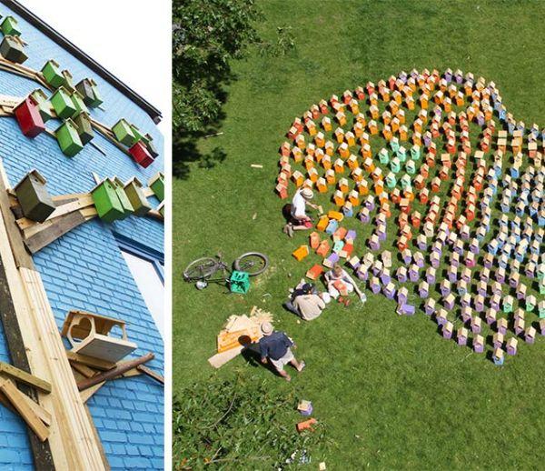 Un artiste a construit plus de 3 500 nichoirs colorés et écolo pour les grandes villes