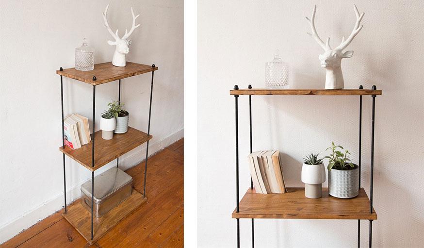 diy pour fabriquer une tag re industrielle en m tal et bois. Black Bedroom Furniture Sets. Home Design Ideas