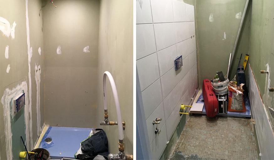 Mise en place de la douche et du carrelage.