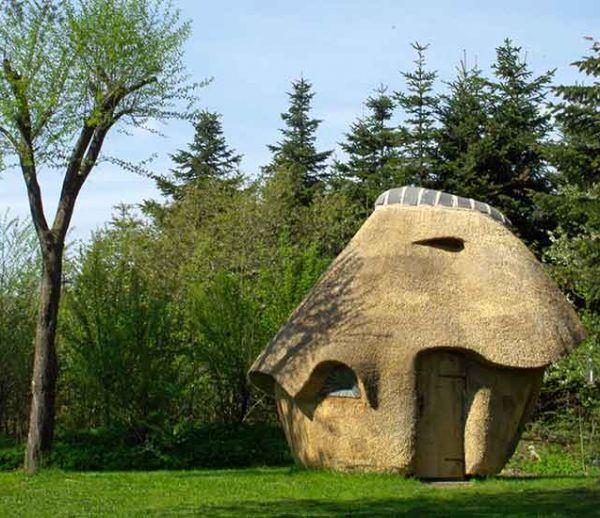Il a construit un sauna en chaume comme un champignon géant