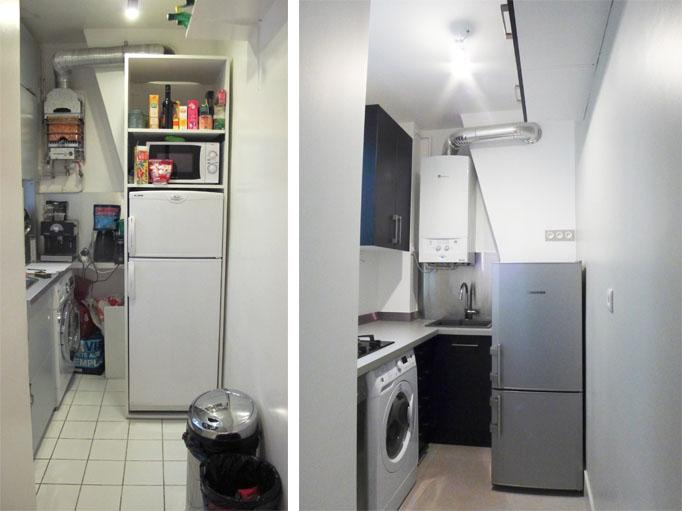 La cuisine avant et après transformation.