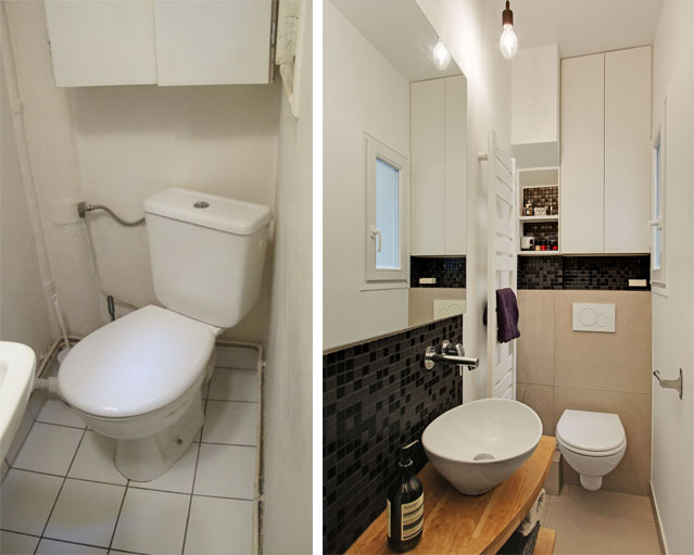 Les toilettes dans la salle de bains, avant et après travaux.