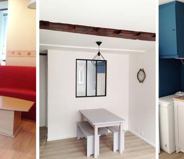 Avant / Après : elle a rénové un studio vieillot en deux-pièces chic pour 10 000 euros