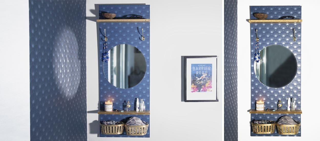 tuto une coiffeuse murale art d co avec du papier peint motif. Black Bedroom Furniture Sets. Home Design Ideas