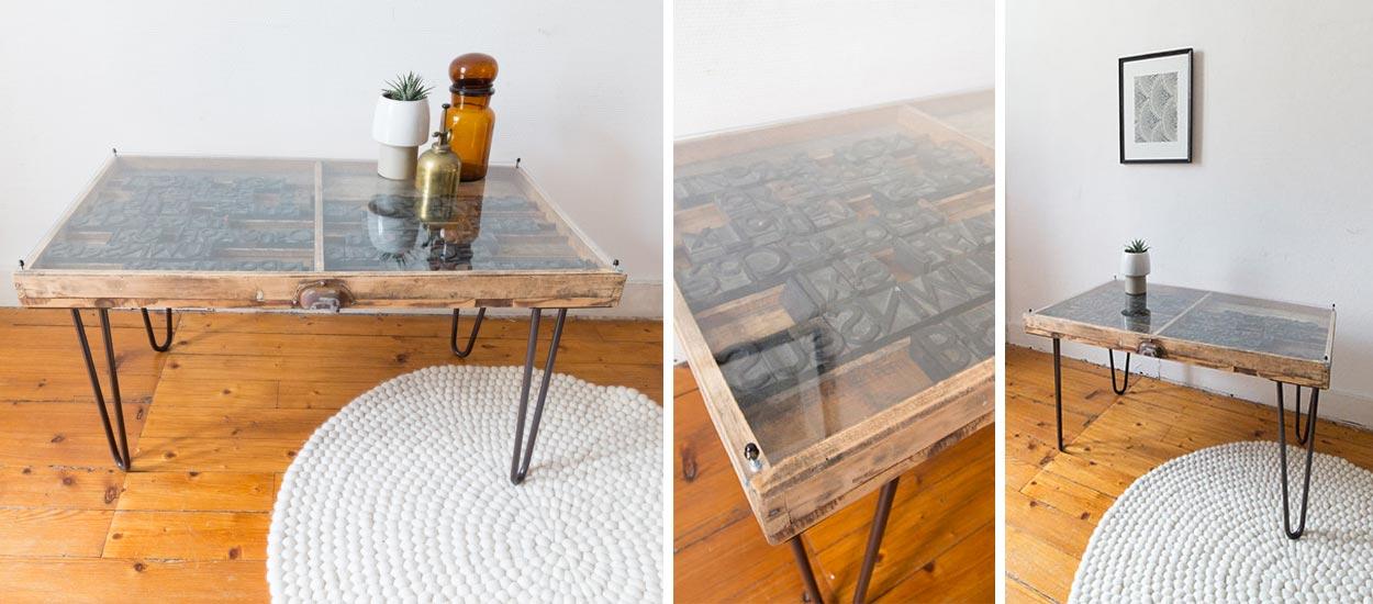 tuto fabriquez une table basse industrielle avec une table d 39 imprimeur. Black Bedroom Furniture Sets. Home Design Ideas