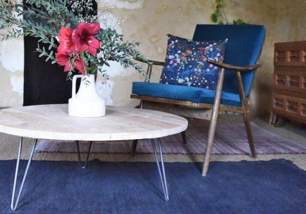 DIY pour fabriquer une table basse ronde en bois brut ...