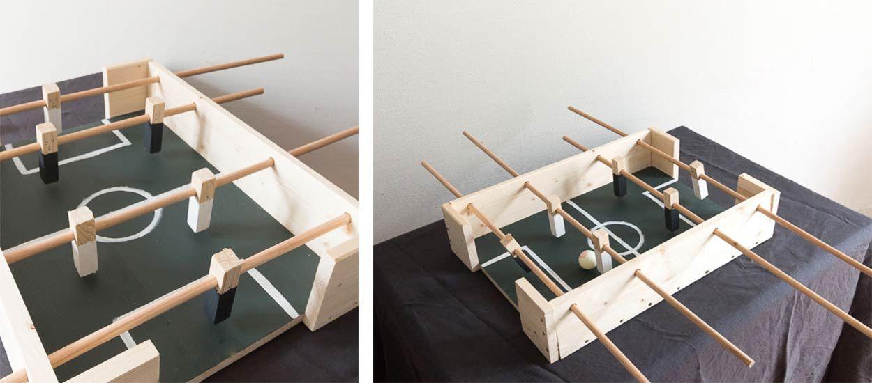 diy comment fabriquer un mini baby foot pas cher en bois. Black Bedroom Furniture Sets. Home Design Ideas