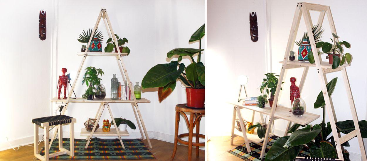 tutoriel fabriquez une tag re chelle pour vos plantes. Black Bedroom Furniture Sets. Home Design Ideas