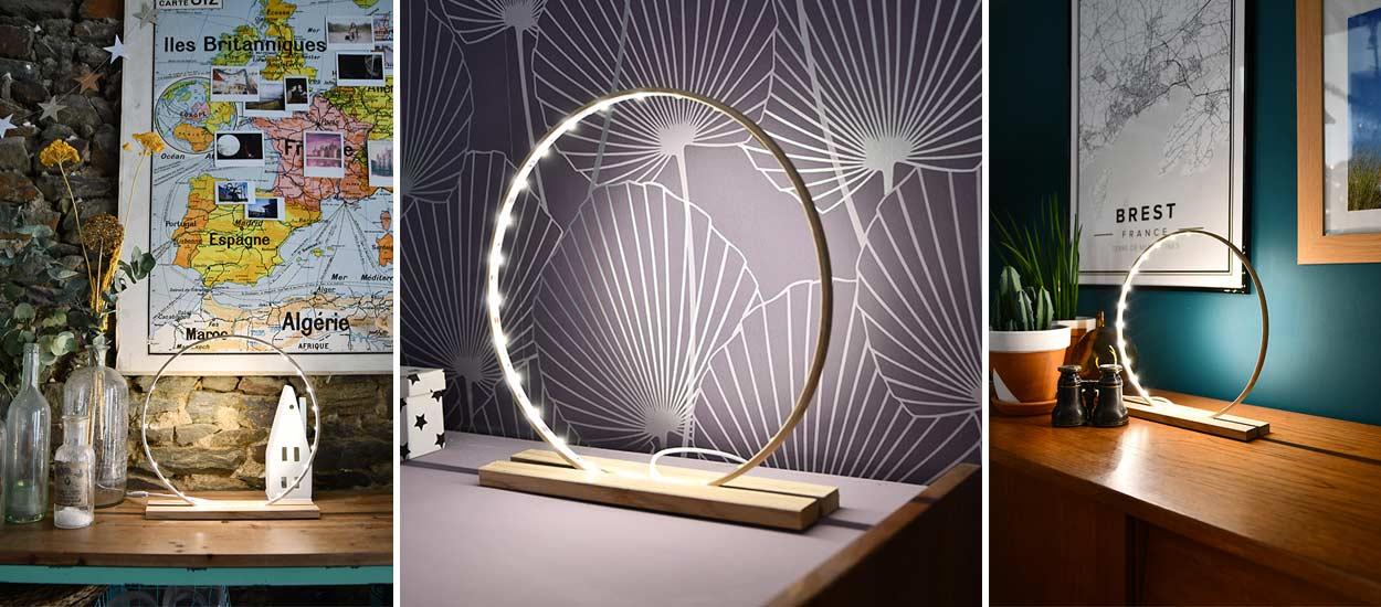 Tuto fabriquez un lampe d corative led tendance avec un cercle de broderie - Lampe cercle led ...