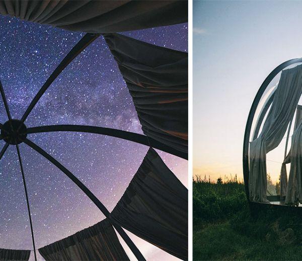 Cette petite bulle nomade est idéale pour s'endormir dans les étoiles