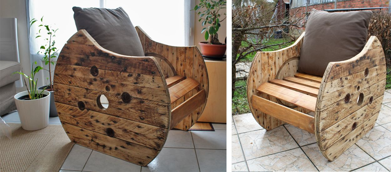 tutoriel fabriquez un fauteuil original avec un touret en bois. Black Bedroom Furniture Sets. Home Design Ideas