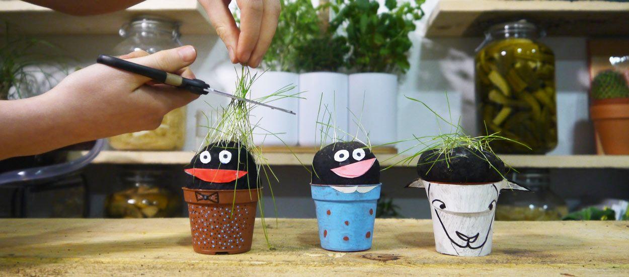 Tuto : créez une famille de personnages chevelus pour éveiller vos enfants au jardinage