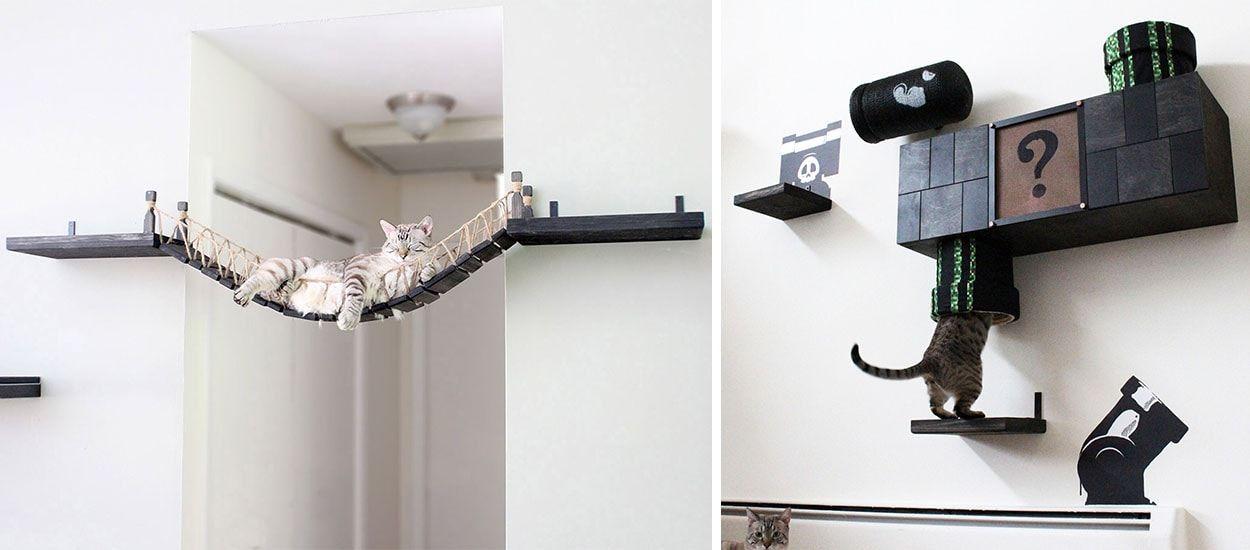 mur d 39 aventure mario pour chat id es parcours pour chat. Black Bedroom Furniture Sets. Home Design Ideas
