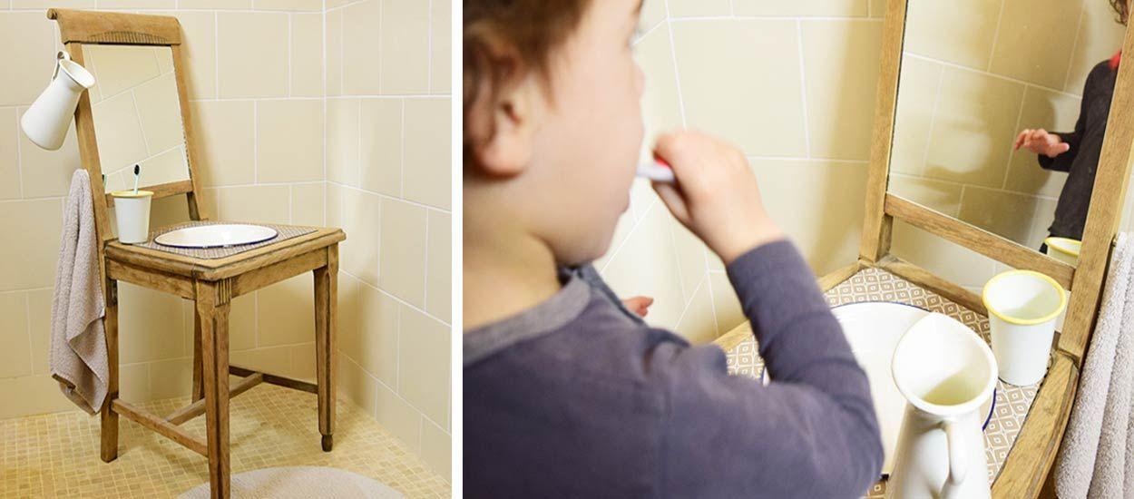 Tuto Montessori : pour moins de 20 euros, fabriquez une mini salle de bains récup' à votre enfant