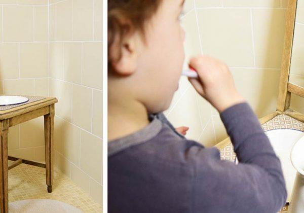 DIY : Bricolez une salle de bains montessori pour enfant avec une chaise