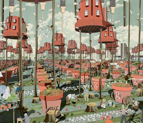 Pour remplacer une voie ferrée controversée, il imagine une ville en bois fantastique