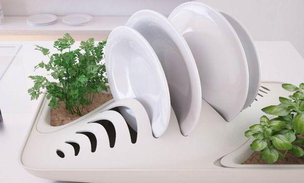 En plus de sécher votre vaisselle, cet égouttoir abreuve vos plantes !