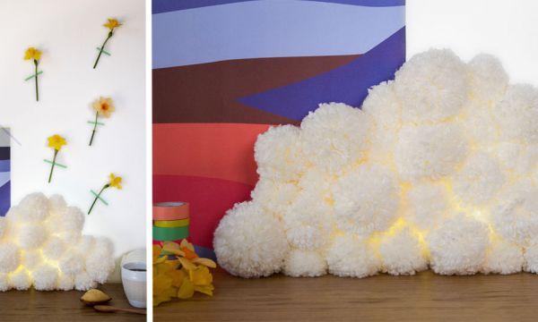 Tuto : Fabriquez une lampe nuage toute douce avec des pompons