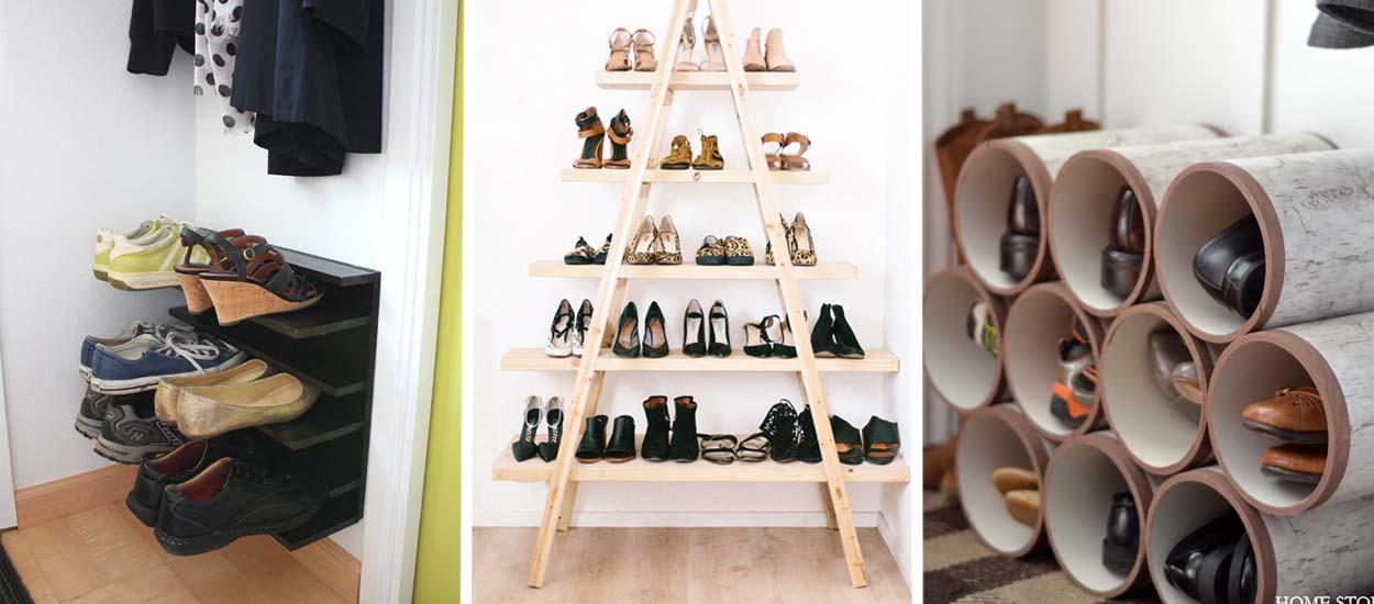 18 tutoriels pour fabriquer un rangement pour chaussures pas cher. Black Bedroom Furniture Sets. Home Design Ideas
