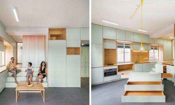 Solutions ingénieuses et rangements cachés pour optimiser ce studio minimaliste