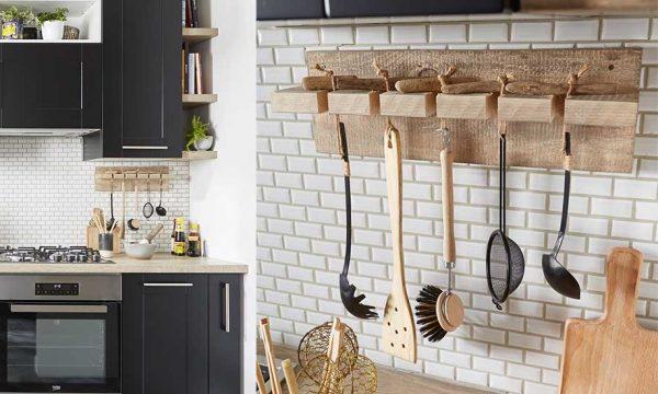 Tuto : Fabriquez un porte-ustensile en bois à fixer sur votre crédence de cuisine pour 10 euros