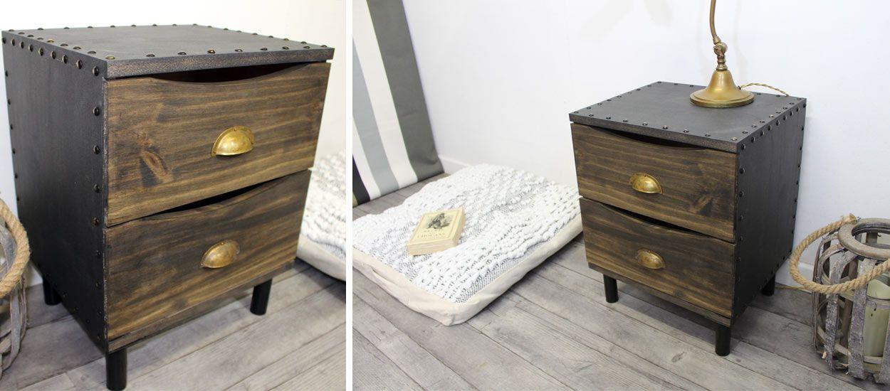 d co industrielle fabriquez une table de nuit originale. Black Bedroom Furniture Sets. Home Design Ideas