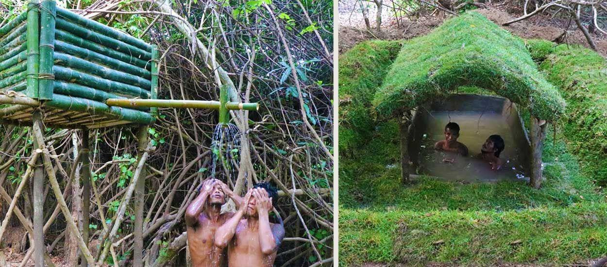 Ils creusent une piscine à main nues et fabriquent une incroyable douche en bambou