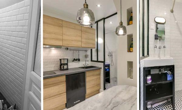 Avant / Après : Une salle de bains dans la cuisine pour remplacer l'ancienne douche du placard
