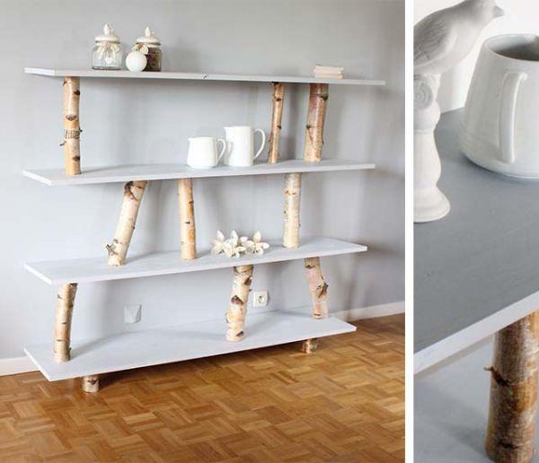 Tuto : Fabriquez un meuble étagère avec des rondins de bouleau pour une poignée d'euros
