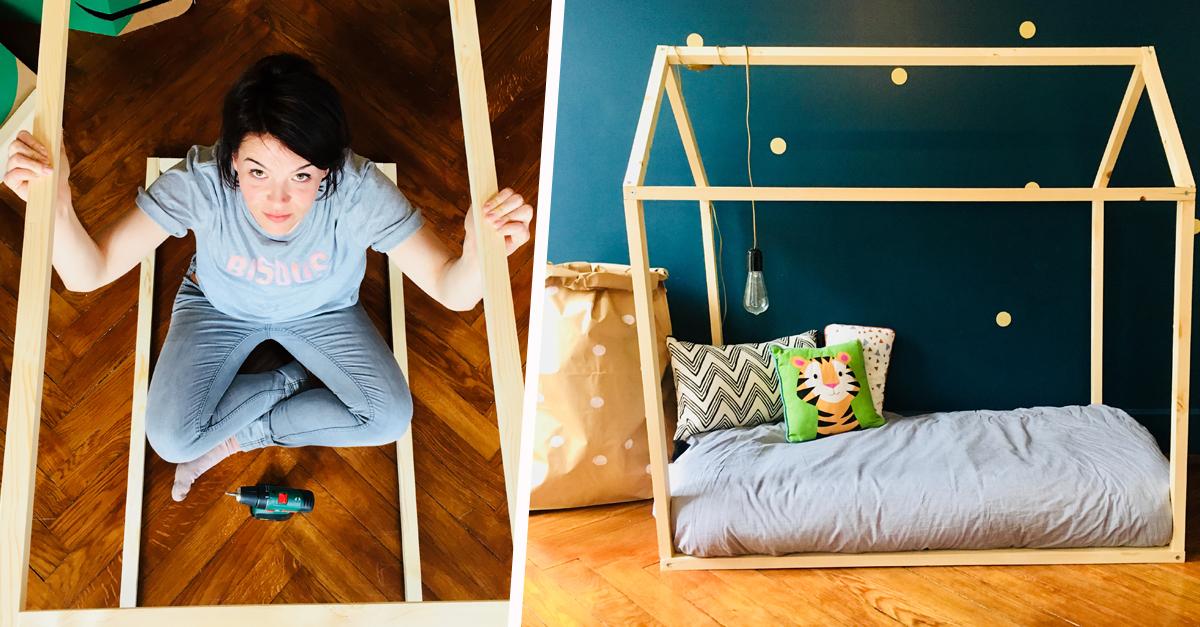 Lit enfant-Maison en bois Lit pour enfants Cube 3 80x200