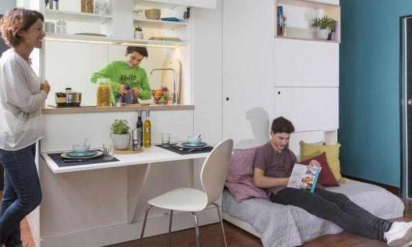 Ce meuble multifonction de 6 m² cache une cuisine, une salle de bains et un lit