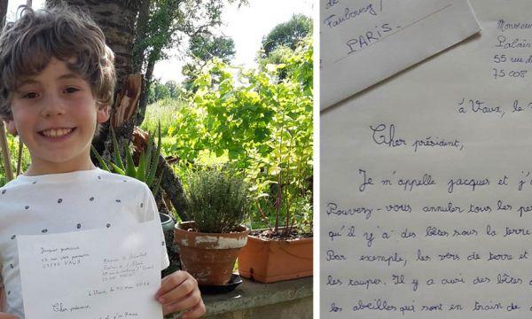 """Jacques, 7 ans et demi, écrit au président pour lui demander """"d'annuler tous les pesticides"""""""