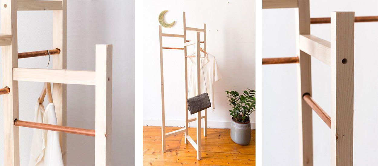diy pour fabriquer un portant v tements pas cher et tr s. Black Bedroom Furniture Sets. Home Design Ideas