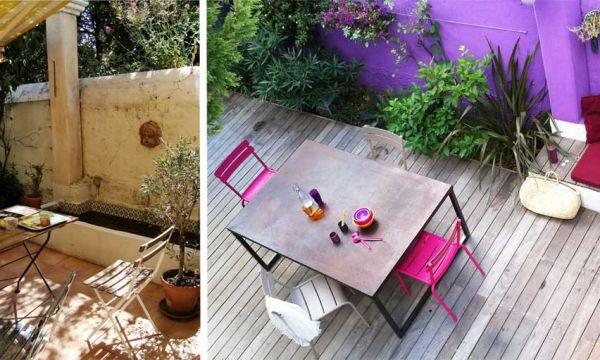 Avant / Après : Cette terrasse abîmée ose le violet pour un style bohème !