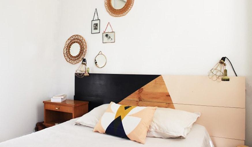ffebae2618f5bf 12 - Du colorblock pour une déco moderne et graphique. Tête de lit ...