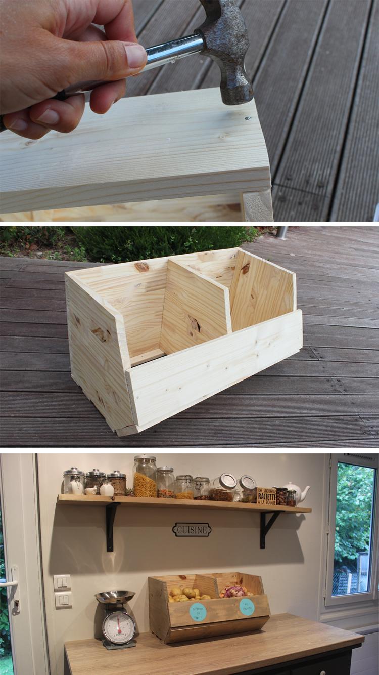 Fabriquer Des Rangements En Bois construire un cagette pour ranger les fruits et légumes